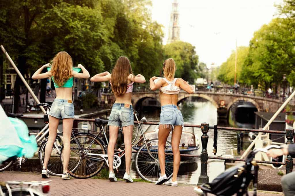 Several Girls Celebrating King's Day in Amsterdam.